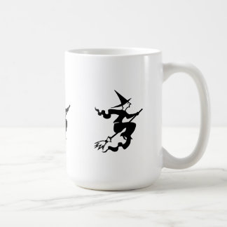 funny halloween witch on broomstick classic white coffee mug