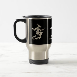 funny halloween witch on broomstick 15 oz stainless steel travel mug