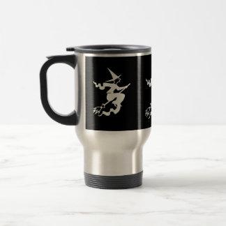 funny halloween witch on broomstick coffee mug