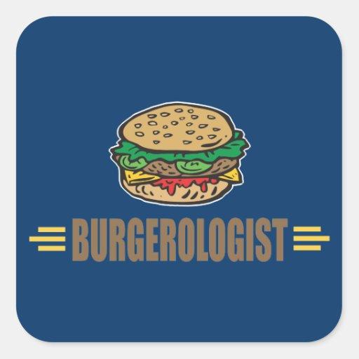 Funny Hamburger Square Stickers