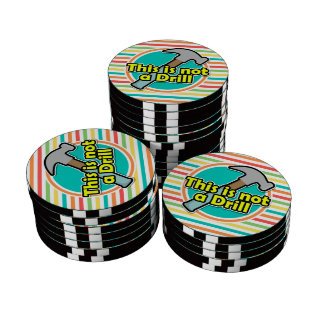 Funny Hammer; Bright Rainbow Stripes Poker Chips Set
