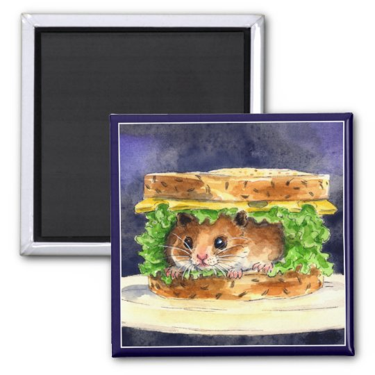 Funny hamster sandwich magnet