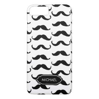 Funny Hand drawn Black white mustache personalised iPhone 8 Plus/7 Plus Case