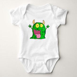 Funny Hand Drawn Green Monster Cartoon Art Baby Bodysuit