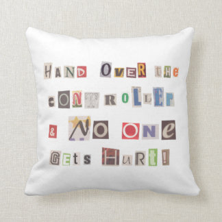 Funny Hand Over the Controller Ransom Note Collage Cushion