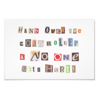 Funny Hand Over the Controller Ransom Note Collage Photo