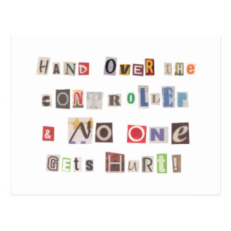 Funny Hand Over the Controller Ransom Note Collage Postcard