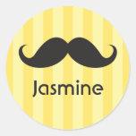Funny handlebar moustache moustache yellow name round sticker