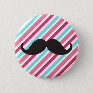 Funny handlebar mustache on pink aqua blue stripes 6 cm round badge