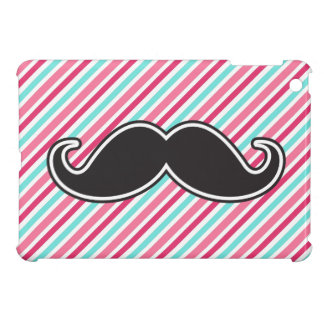 Funny handlebar mustache on pink aqua blue stripes iPad mini cover