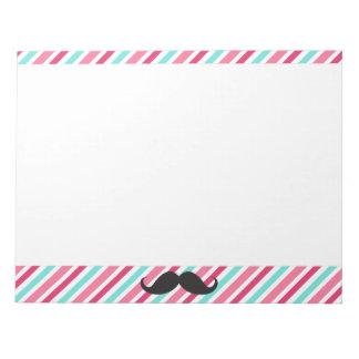 Funny handlebar mustache on pink aqua blue stripes notepad