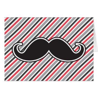 Funny handlebar mustache on retro gray red stripes card