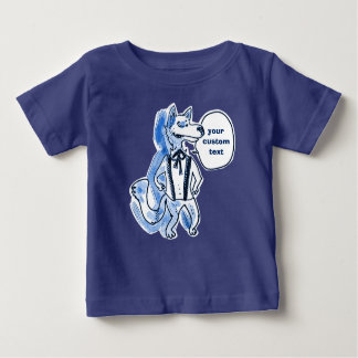 funny handsome wolf cartoon baby T-Shirt