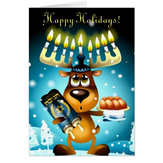 Funny Hanukkah Reindeer Happy Holidays Card