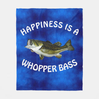 "Funny ""Happiness is a Whopper Bass"" Fleece Blanket"