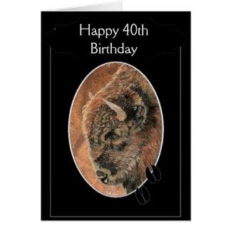 Funny Happy 40th Birthday  Bison, Buffalo Animals Card