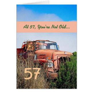 FUNNY Happy 57th Birthday - Vintage Orange Truck Greeting Card