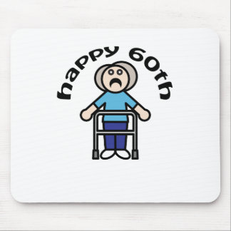 Funny Happy 60th old woman design Mouse Pads