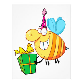 funny happy birthday bumble bee cartoon character 21.5 cm x 28 cm flyer