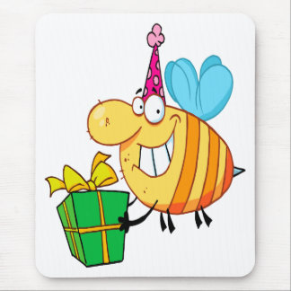 funny happy birthday bumble bee cartoon character mouse pads