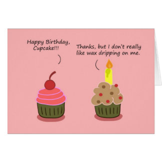 Funny Happy Birthday Card: Cupcake Candle Woes Greeting Card