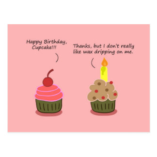 Funny Happy Birthday Card Cupcake Candle Woes Postcard