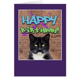 Funny Happy Birthday Graffiti from El Gato The Cat Greeting Card
