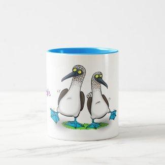 Funny, happy blue footed boobies dancing cartoon Two-Tone coffee mug