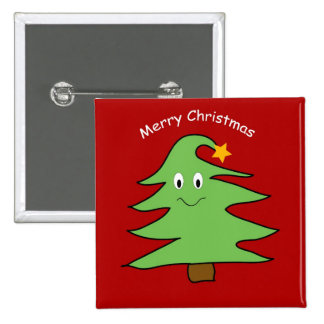 Funny Happy Cute Christmas Tree 15 Cm Square Badge