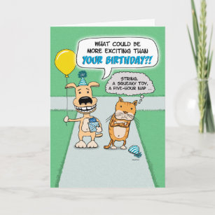 Funny Happy Dog And Grumpy Cat Birthday Card
