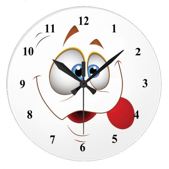 Funny Happy Face Blue Eyes Large Clock