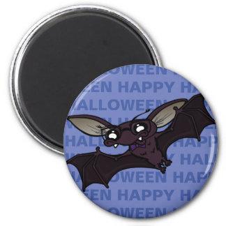 FUNNY HAPPY HALLOWEEN BAT ROUND MAGNET