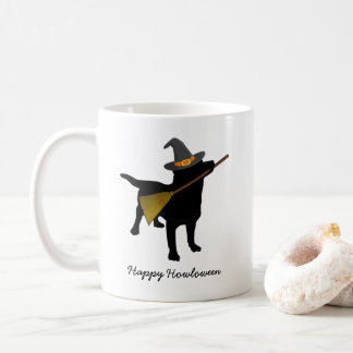 Funny Happy Halloween Black Lab Dog With Witch Hat Coffee Mug