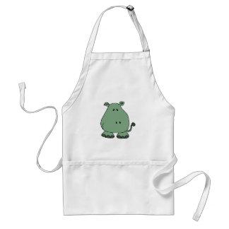 Funny Happy Hippo Cartoon Apron