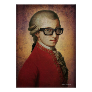 Funny Happy Hipster Mozart Classical Music Art Poster