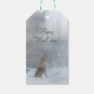 Funny Happy Holidays Gift Tags with Wolf and Snow
