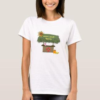 Funny HAPPY HOUR TropicaI island Tiki Bar Hut T-Shirt