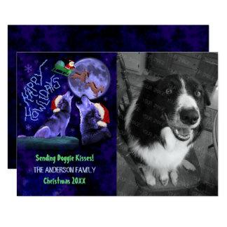 Funny Happy Howlidays Christmas Dog Custom Photo Card