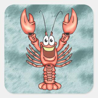 Funny Happy Lobster Square Sticker