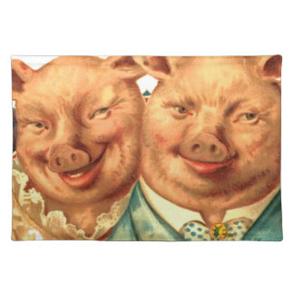 Funny Happy Pig Couple Fabric Print Placemats