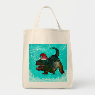Funny, happy  T-rex wish you a merry christmas Tote Bag