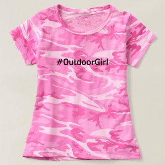 Funny Hashtag #Outdoor Girl Pink Camo Camp Cabin T-Shirt