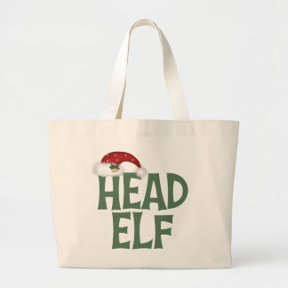 Funny Head Elf Christmas Gift Large Tote Bag