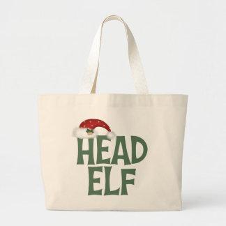 Funny Head Elf Christmas Gift Jumbo Tote Bag