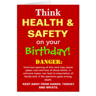 Funny Health and Safety Birthday Joke Greeting Card