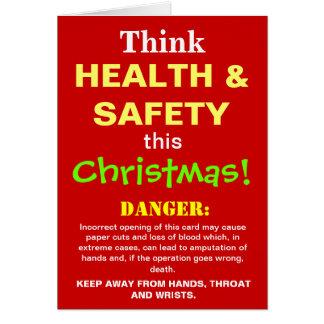 Funny Health and Safety Christmas Warning Joke Greeting Card