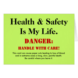 Funny Health and Safety Sign Joke Customisable Card