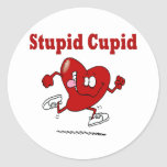Funny Heart Running From Cupid Round Sticker