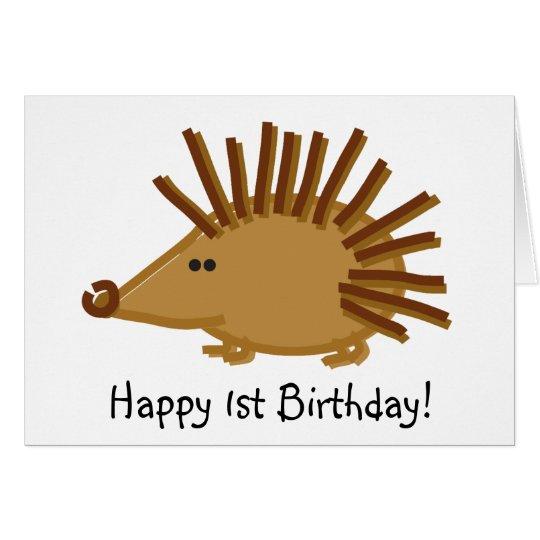 Funny Hedgehog on White Card