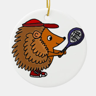 Funny Hedgehog with Blue Tennis Racket Christmas Ornament